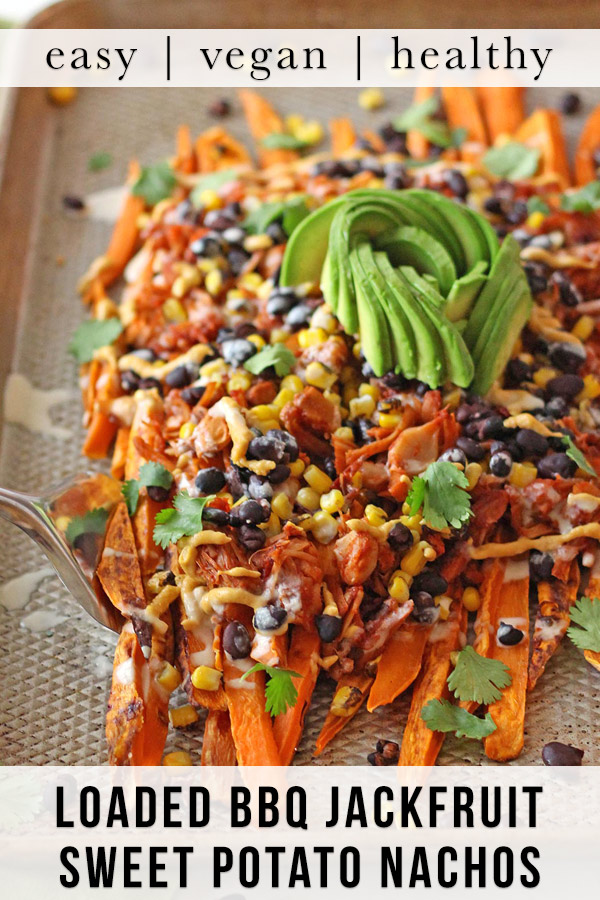 These loaded vegan sweet potato nachos are topped with pulled BBQ jackfruit, a realistic plant based vegetarian alternative to chicken! Topped with a vegan cashew nacho cheese and all the toppings, this recipe is also gluten-free.