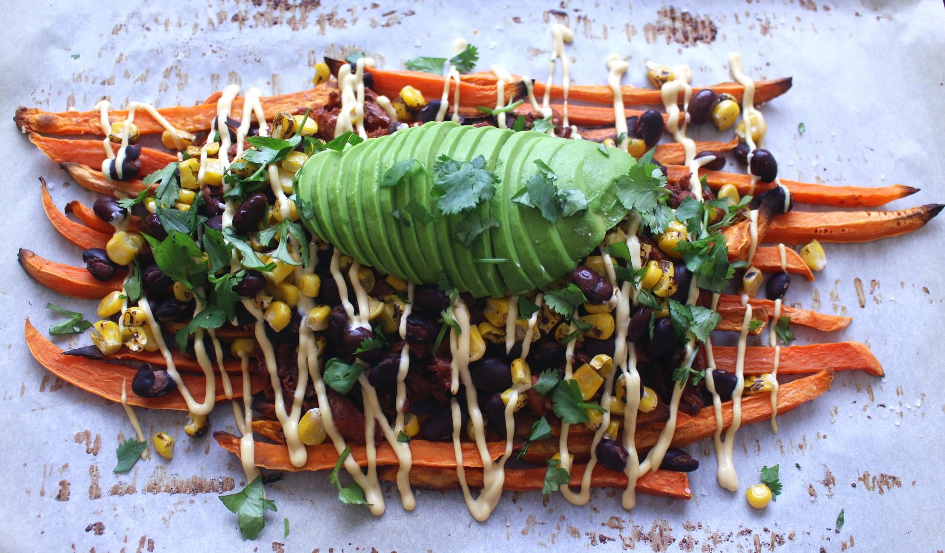 Loaded BBQ Jackfruit Sweet Potato Nachos (Vegan)