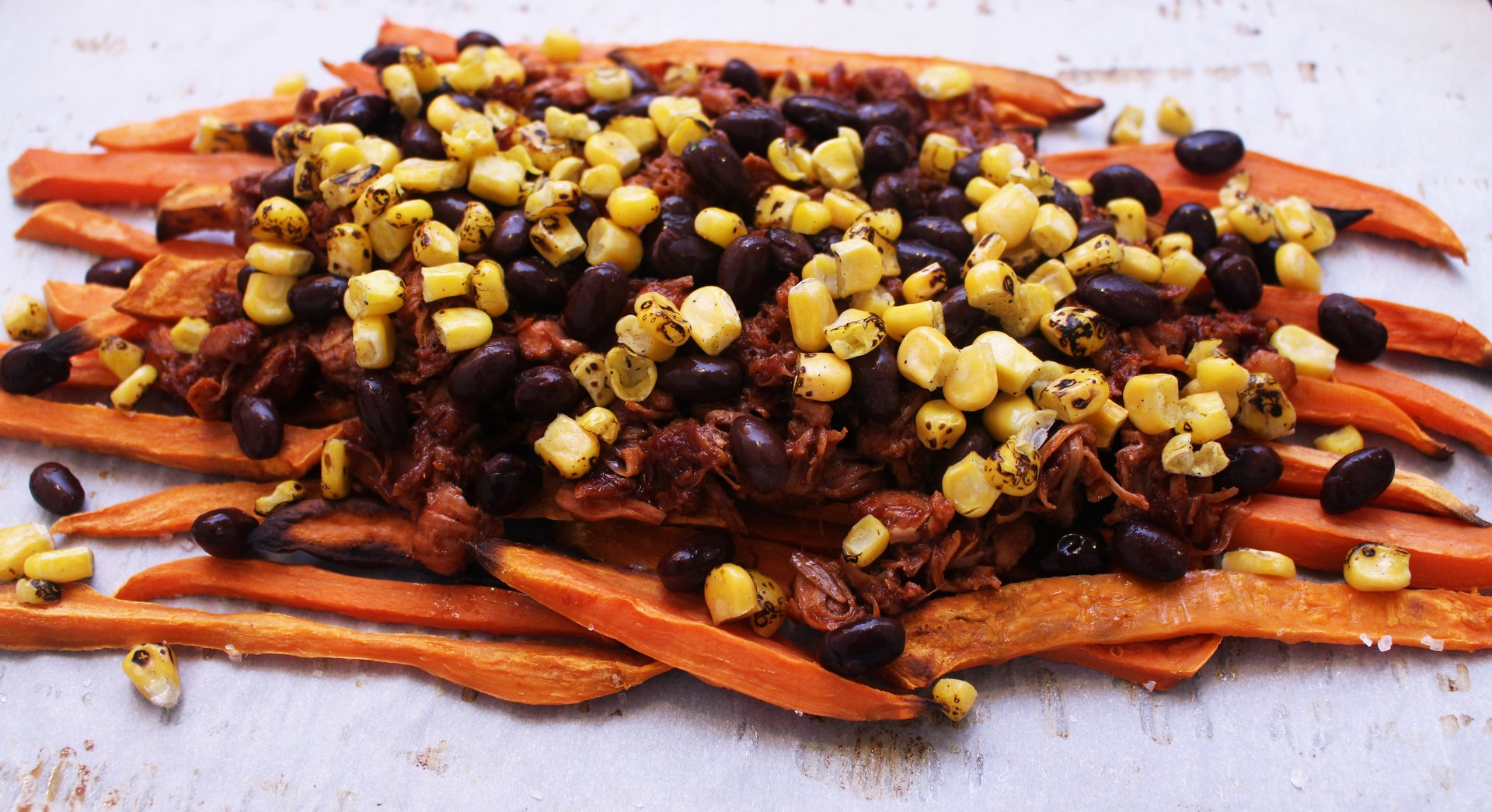 Loaded BBQ Jackfruit Sweet Potato Nachos Vegan