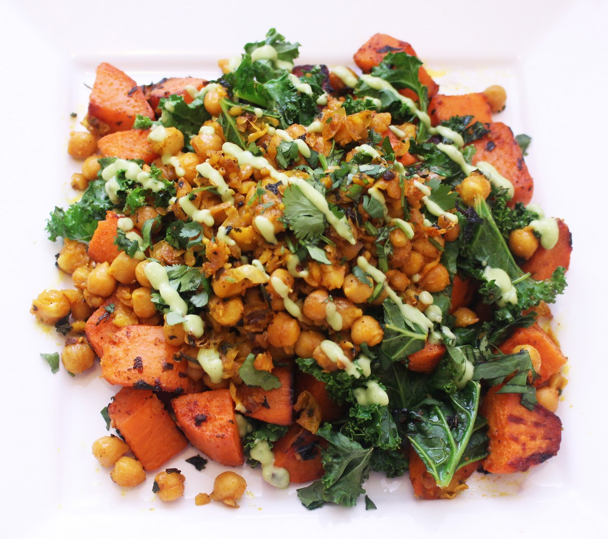 One Pan Chickpea & Sweet Potato Hash with Avocado Crema