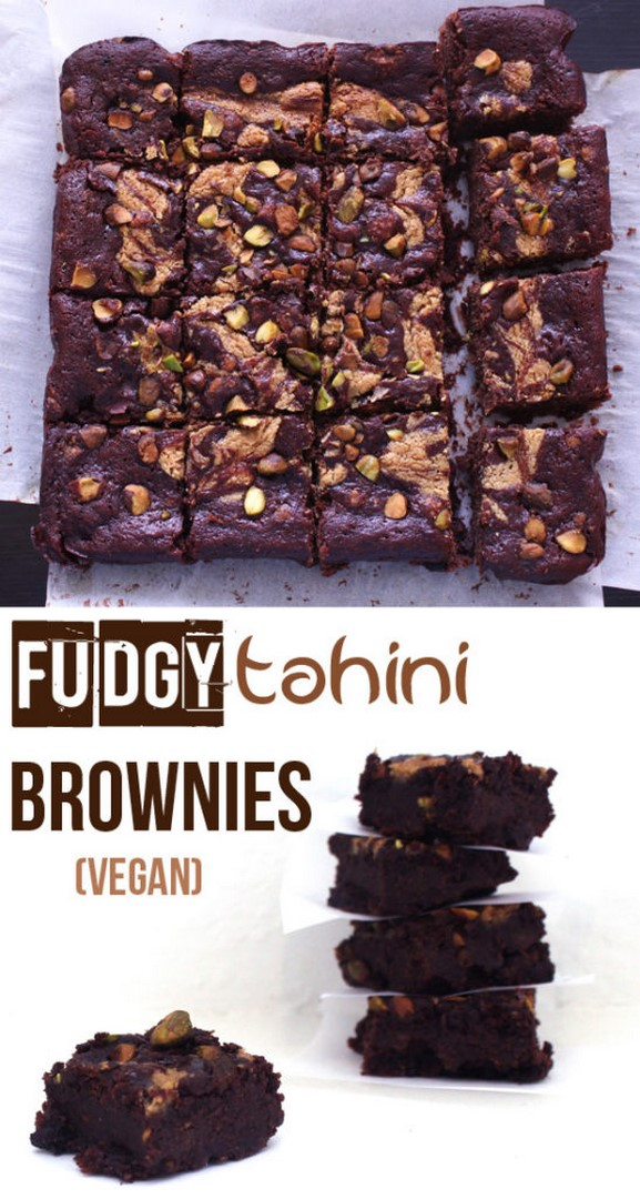 Fudgy Tahini Brownies (Vegan) | Zena 'n Zaatar