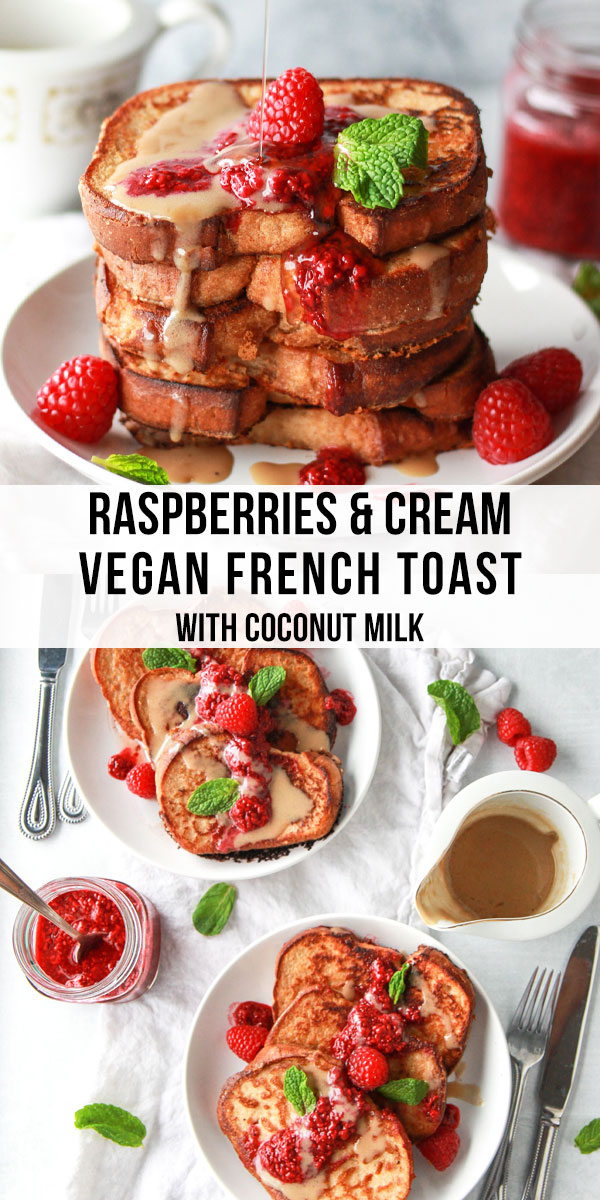 This vegan French toast is made with coconut milk, topped with a raspberry chia jam and coconut creme anglaise. This vegan raspberries and cream French toast has an eggy flavor and stays crispy due to chickpea flour.