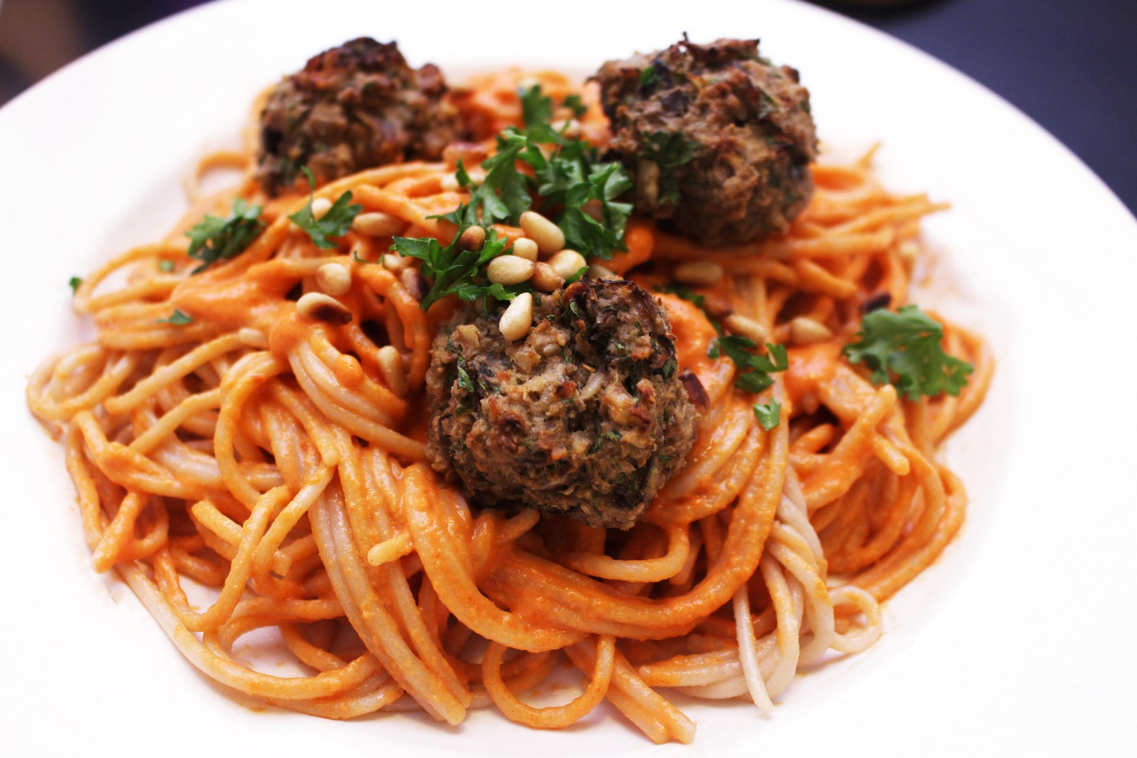 Eggplant Meatballs with Roasted Red Pepper Tahini Pasta (Vegan, Gluten Free, Oil Free)