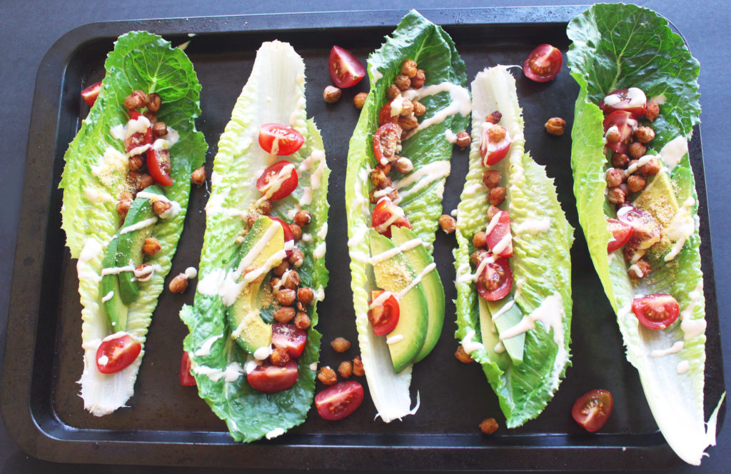 chickpea caesar lettuce wraps boats vegan gluten free avocado salad recipes zena zaatar zenanzaatar food blogger vegetarian