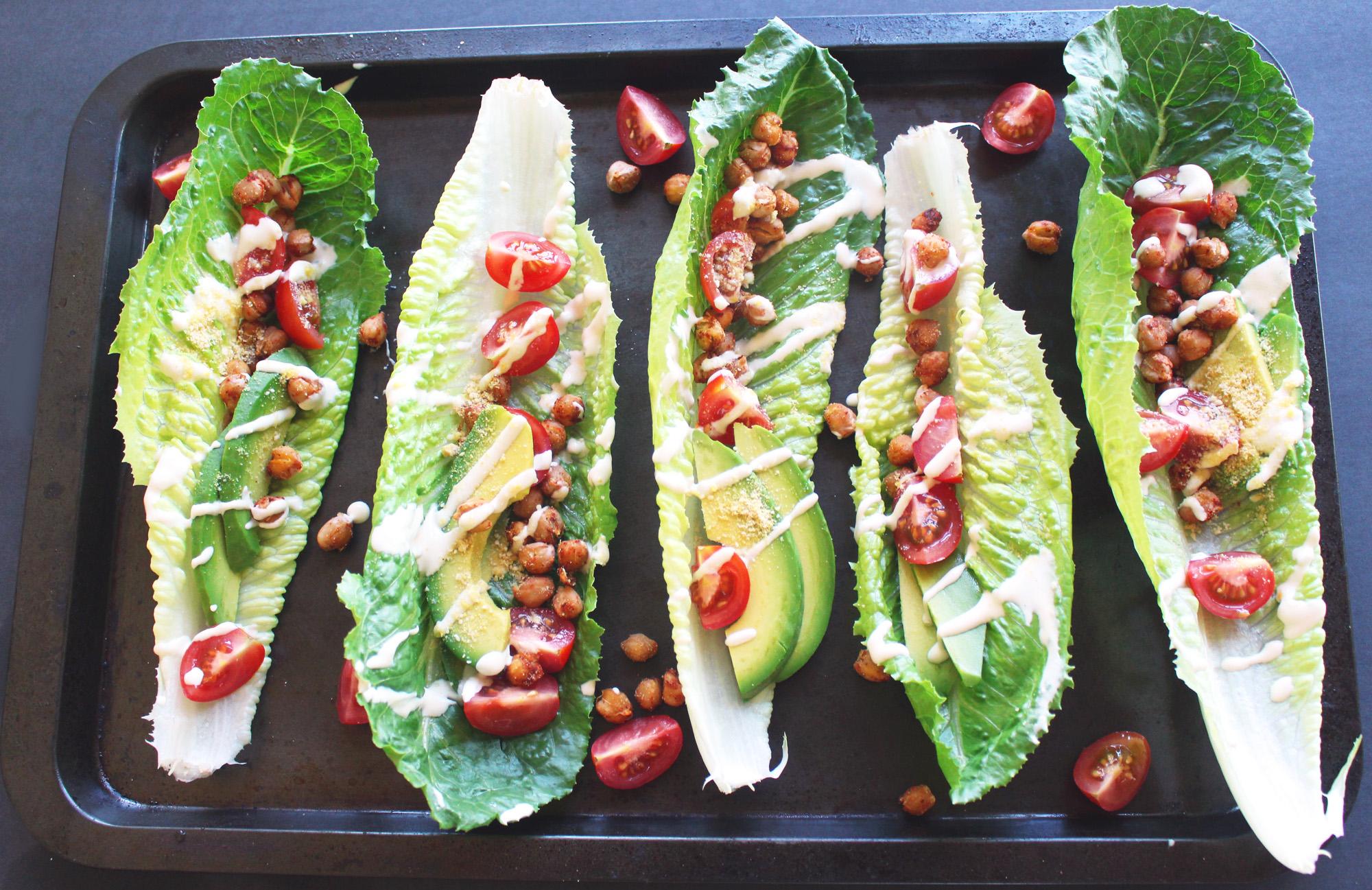 Chickpea Caesar Lettuce Wraps (Vegan, GF, Oil-Free)