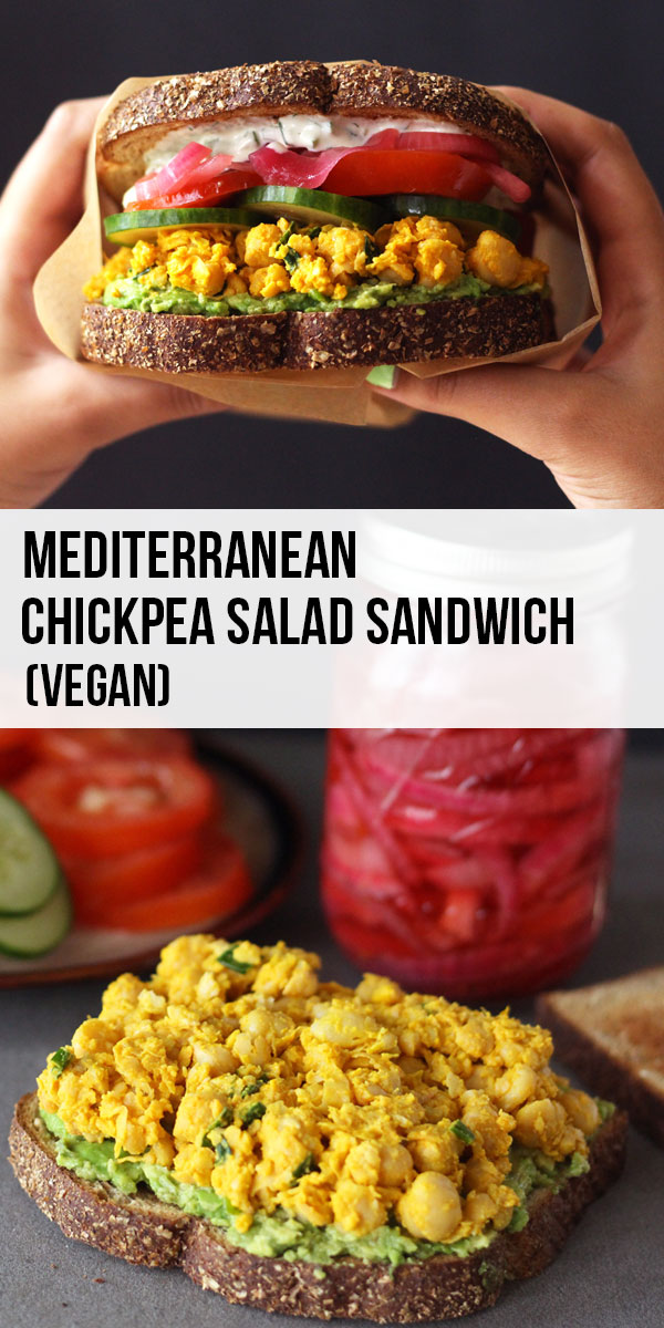 This vegan Mediterranean style chickpea salad sandwich consists of flavorful smashed chickpeas, topped with a creamy vegan tzatziki, pickled red onions and mashed avocado. A simple vegan recipe.