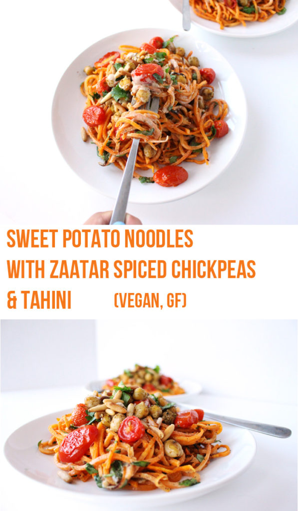 Sweet Potato Noodles with Zaatar Spiced Chickpeas & Tahini (V, GF) | Zena 'n Zaatar