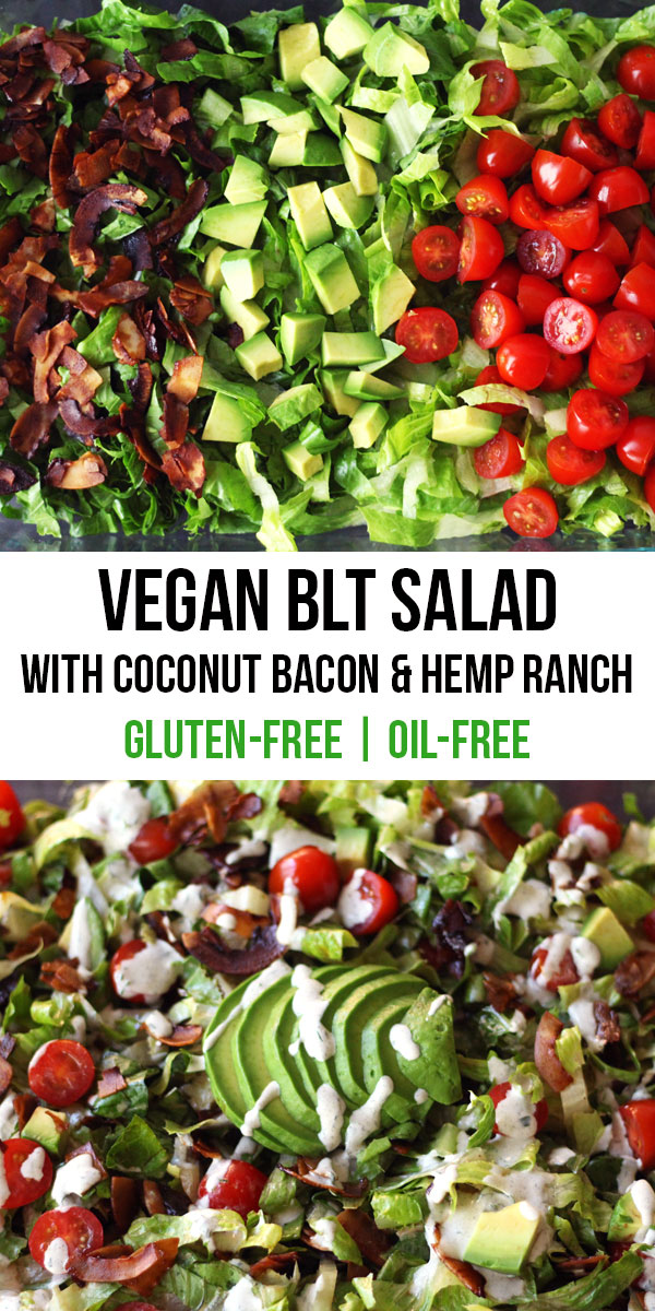 A vegan bacon, lettuce, and tomato salad. Made with crispy coconut bacon, avocado, and a hemp seed ranch dressing! Enjoy all the classic flavors of a BLT in this plant-based salad.