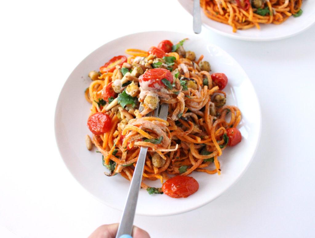 sweet potato noodles zaatar chickpeas tahini mediterranean vegan gluten free vegetarian food blog zenanzaatar