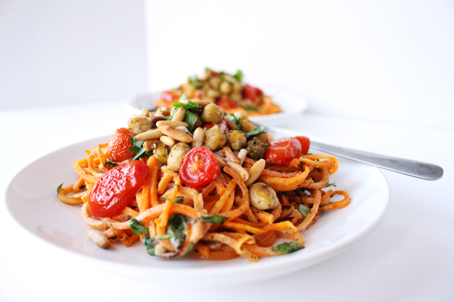 Sweet Potato Noodles with Zaatar Spiced Chickpeas & Tahini (Vegan, GF)