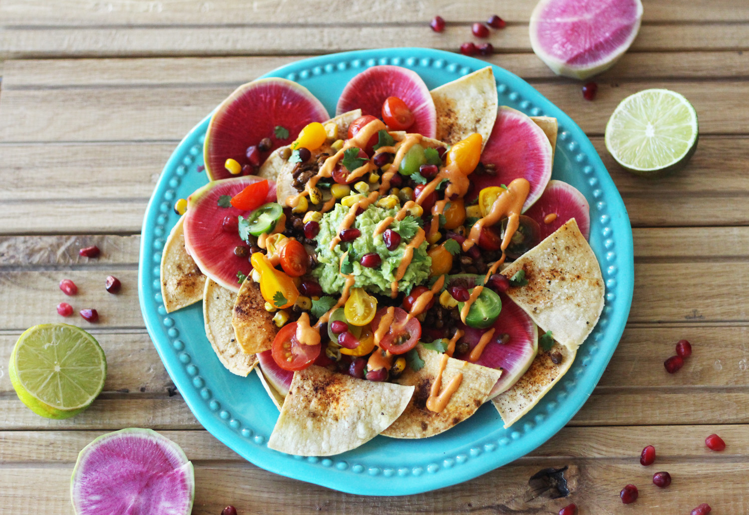 Rainbow Lentil Nachos for Two with Chipotle Queso (Vegan, GF)