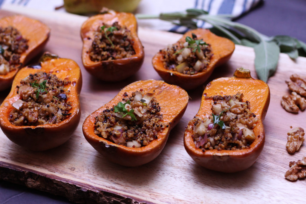 stuffed honeynut squash butternut quinoa pear maple balsamic sage walnut vegetarian vegan gluten free food blog recipe zenanzaatar