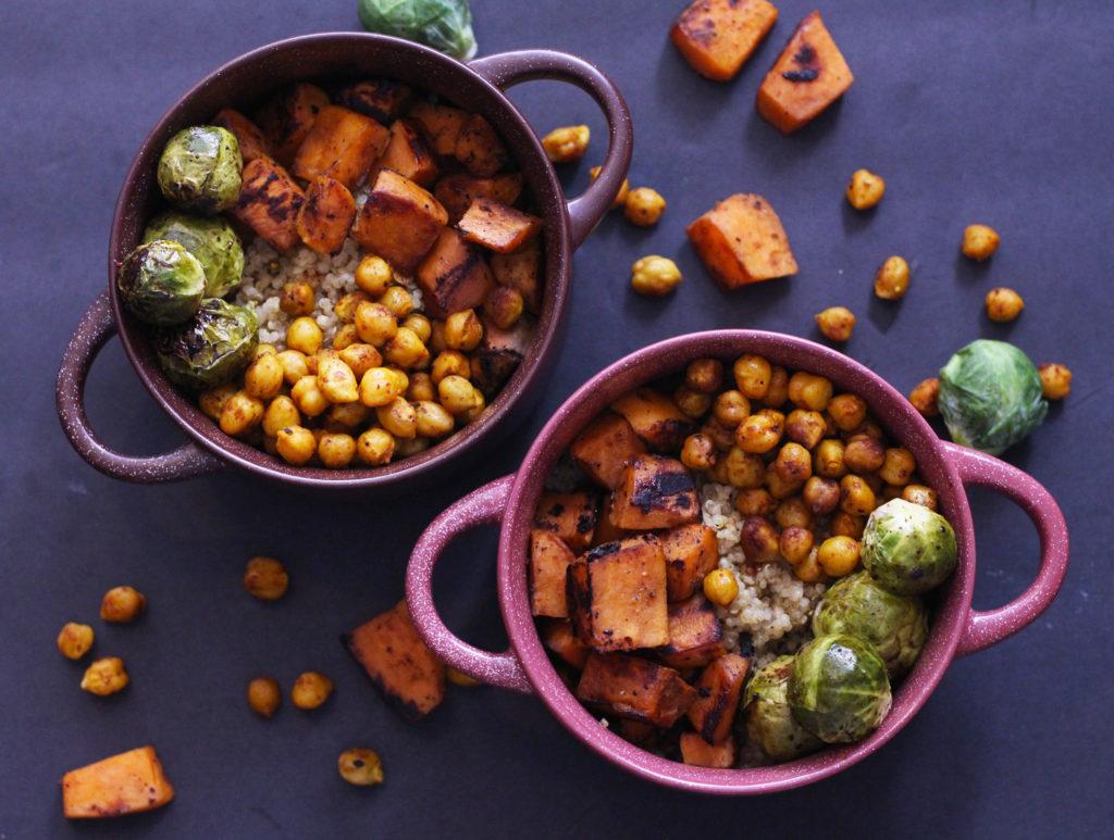 wonderful winter veggie vegan bowls vegetarian gluten free quinoa sweet potato maple tahini brussel sprouts chickpeas food blog zenanzaatar recipes
