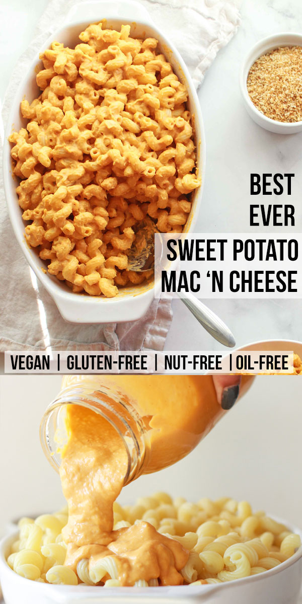 Learn how to make the best sweet potato mac and cheese! This vegan sweet potato based mac and cheese is creamy, nut-free, gluten-free, and this vegan mac and cheese recipe has an oil-free option.