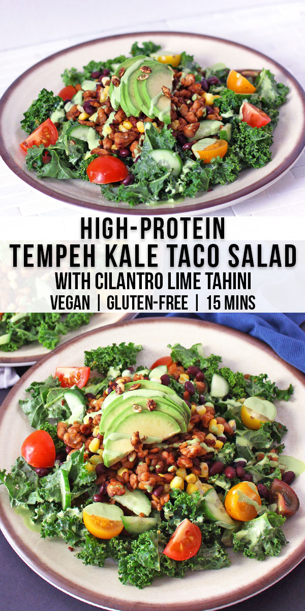 This tempeh kale taco salad is vegan, gluten-free, and packed with 65g of protein from taco tempeh crumbles and black beans. This vegan kale taco salad recipe is topped with avocado and a creamy cilantro lime tahini dressing.