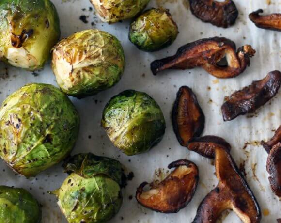 Roasted Brussels Sprouts with Shiitake Bacon and Maple Dijon (Vegan, GF)
