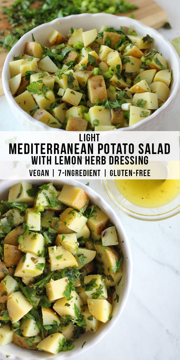 This light mediterranean potato salad is a healthy alternative to traditional potato salad, with a lemon herb dressing. This healthy mediterranean potato salad recipe is vegan and gluten-free, only 7 ingredients, and dressed with lemon, olive oil, and fresh herbs.