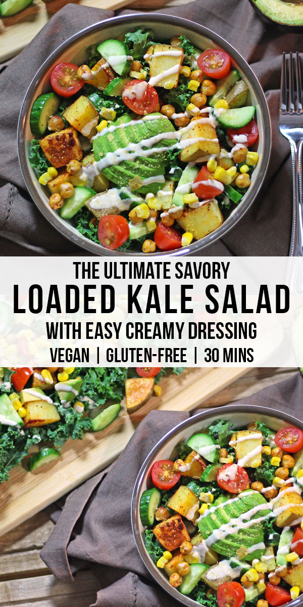 Savory kale salad, filling enough to eat for dinner! Filled with crispy spiced potatoes and chickpeas, avocado, and dressed in a creamy tahini! Vegan and gluten-free.