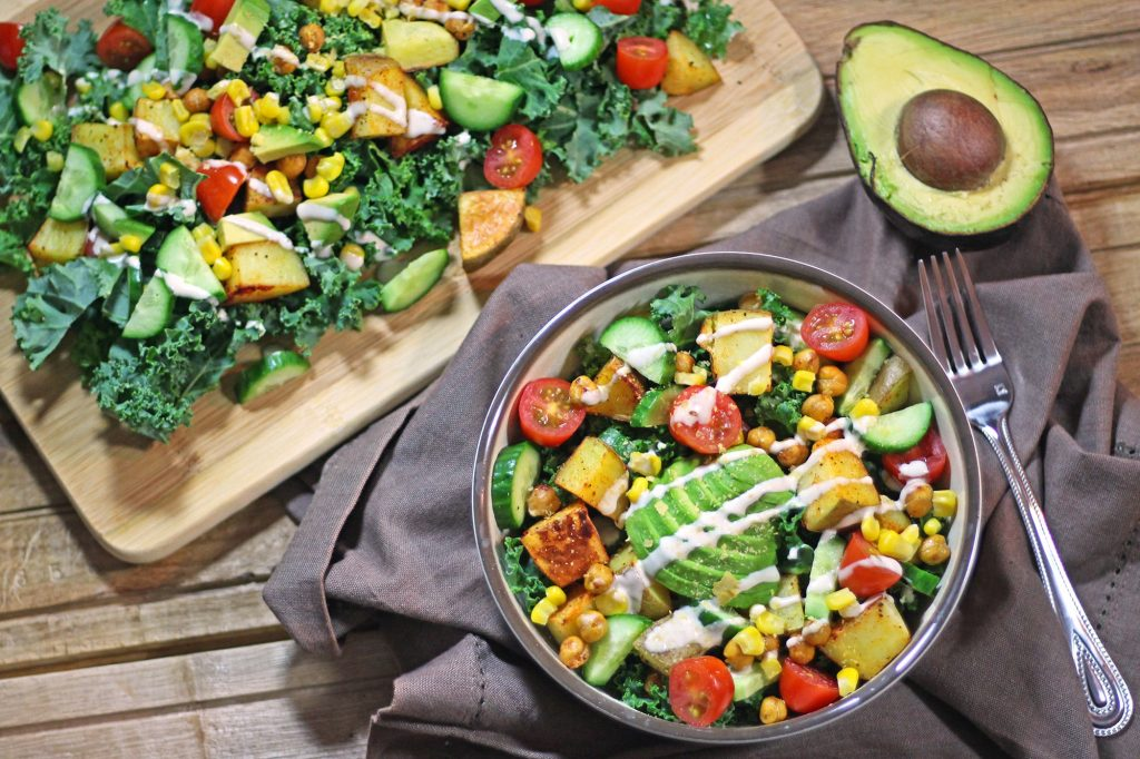 kale salad rainbow vegan vegetarian dinner recipe food blog zenanzaatar tahini potato avocado gluten free