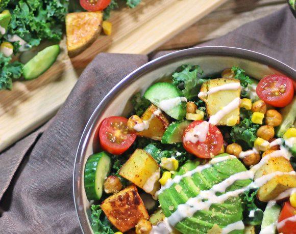 kale salad rainbow vegan vegetarian dinner recipe food blog zenanzaatar tahini potato avocado gluten free