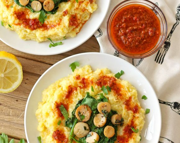 vegan polenta creamy oyster mushroom trumpet scallop scallops sun dried tomato puree spinach lemon butter vegetarian bay zenaznzaatar zena n zaatar food blog recipe