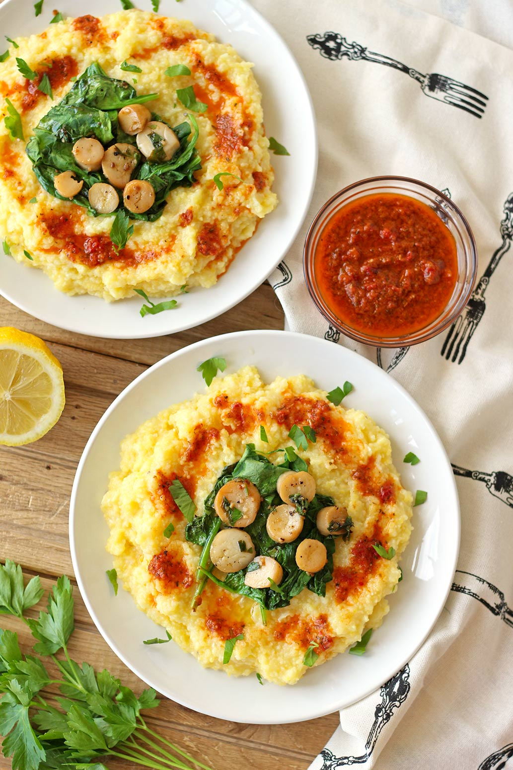 vegan polenta creamy oyster mushroom trumpet scallop scallops sun dried tomato puree spinach lemon butter vegetarian bay zenaznzaatar zena n zaatar food blog recipe