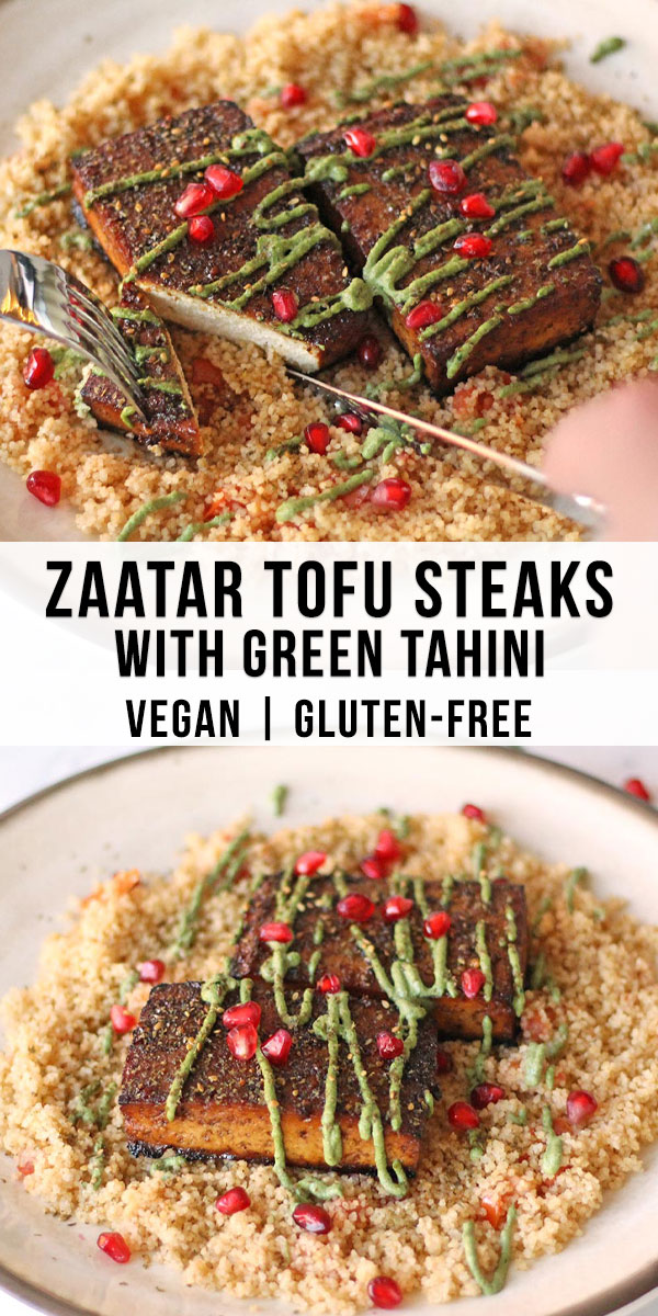 These Mediterranean tofu steaks have a crispy zaatar crust, are infused with tangy pomegranate and are topped with a creamy green tahini. This vegan and gluten free recipe works great over couscous.