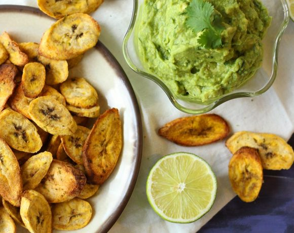 Air Fryer Plantain Chips with Creamy Guacamole (V, GF)