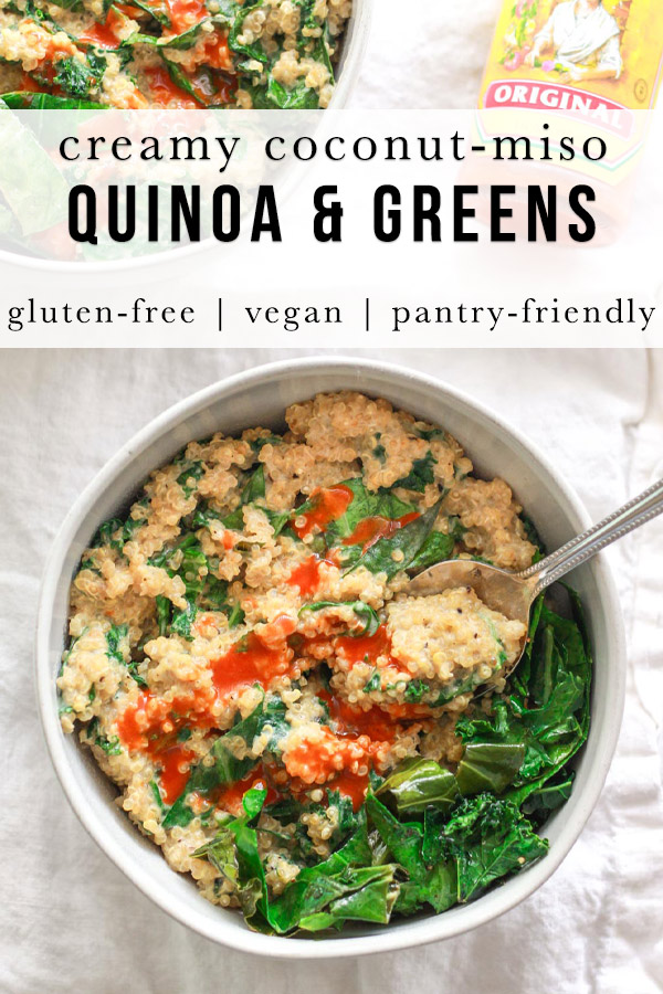 This savory, creamy quinoa and greens is a versatile side dish, but also filling enough to be a main. Coconut milk adds creaminess to this flavorful savory quinoa dish. This creamy coconut quinoa and greens is packed with umami flavor and protein!