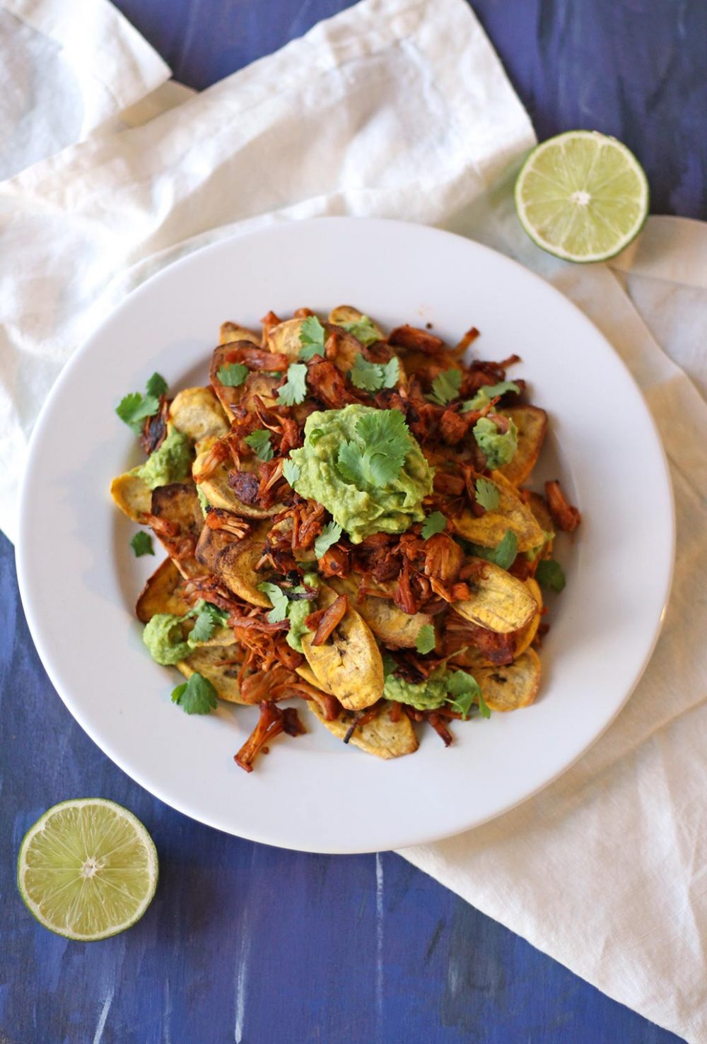 vegan recipe jerk jackfruit plantain nachos plant based chips mediterranean zen and zaatar