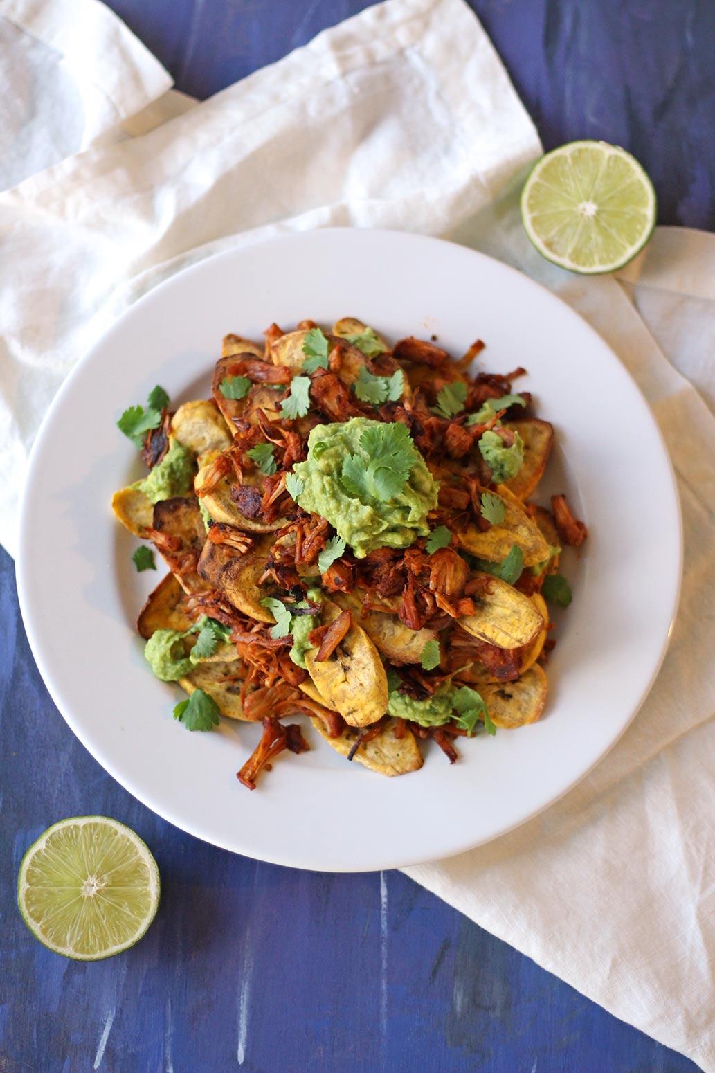 vegan recipe jerk jackfruit plantain nachos plant based chips mediterranean zen and zaatar