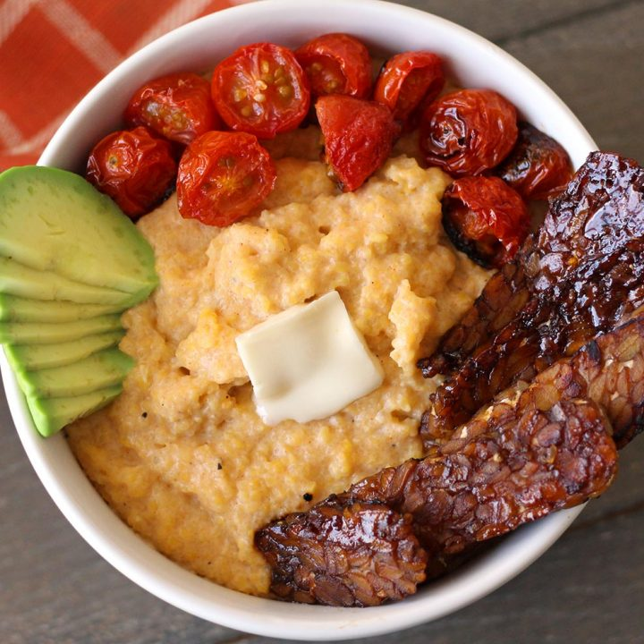 vegan grits recipe creamy cheese broiled tomato tempeh bacon southern zenandzaatar food blog