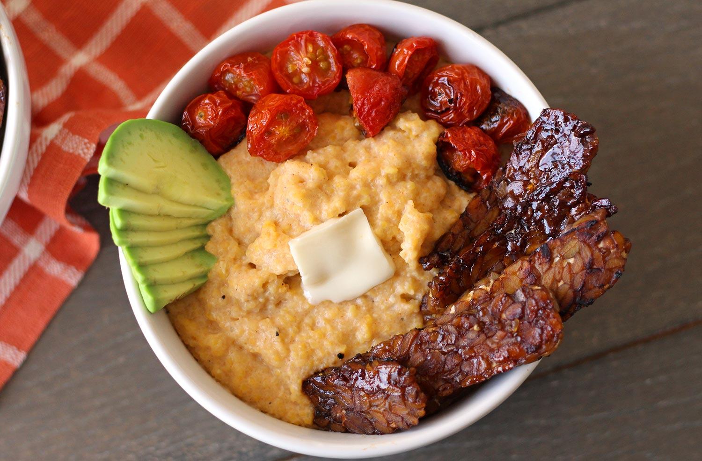 vegan grits recipe creamy cheese broiled tomato tempeh bacon southern zenandzaatar food blog