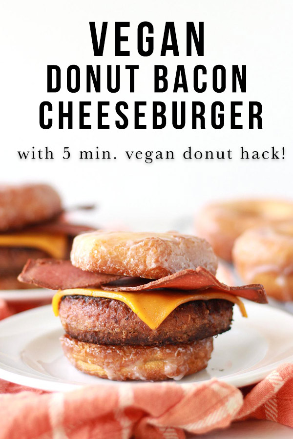 This vegan bacon cheeseburger is sandwiched between two glazed donuts as buns! Also known as the Luther Burger, this innovative veggie burger recipe comes with an easy vegan donut hack.
