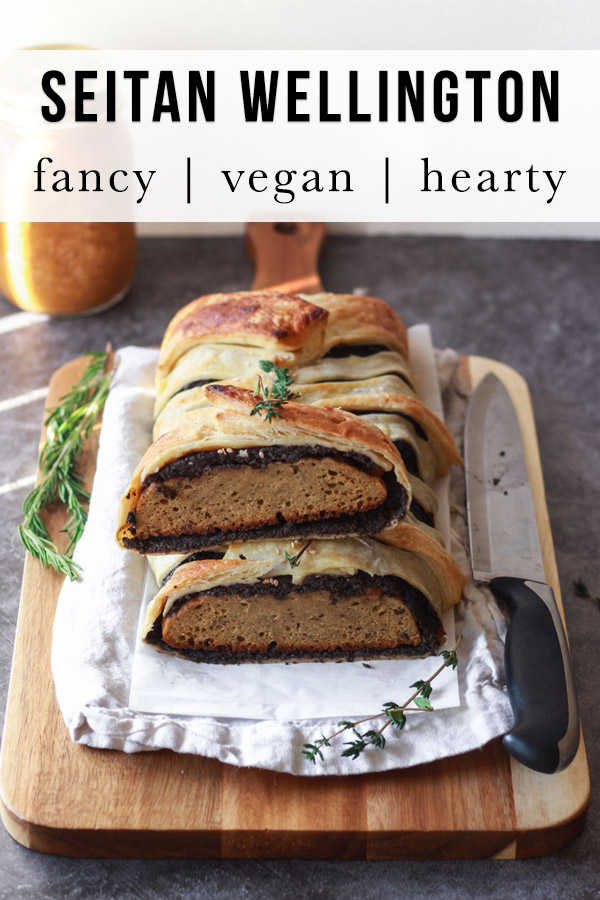 How to make a vegan roast, a delicious vegan wellington made of seitan, wrapped in an herbed mushroom duxelles mixture and flaky puff pastry. This seitan wellington makes a perfect vegan holiday main meal.