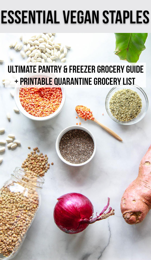 This vegan grocery guide includes a quarantine grocery list of pantry and freezer staples, so that your kitchen can be fully stocked at any time.