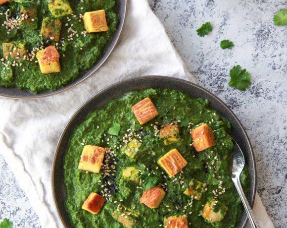 This vegan palak paneer replaces the paneer with a recipe for Burmese chickpea tofu, replicating the texture and flavor of a soft cheese. This vegan saag paneer, a spinach curry, is made creamy with coconut milk, making a rich and flavor Indian-inspired comfort dish.