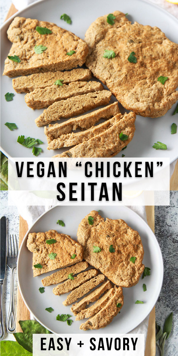 These seitan chicken cutlets are easy and versatile. A vegan meat replacement, this plant based chicken alternative is simmered and done in under an hour. recipe is made from vital wheat gluten, packed with protein, and flavored with savory herbs.