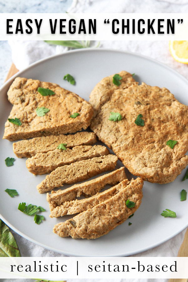 These seitan chicken cutlets are easy and versatile. A vegan meat replacement, this plant based chicken style seitan is simmered and done in under an hour. recipe is made from vital wheat gluten, packed with protein, and flavored with savory herbs.