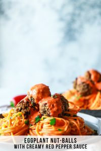 Eggplant Nut-balls with Roasted Red Pepper Cream