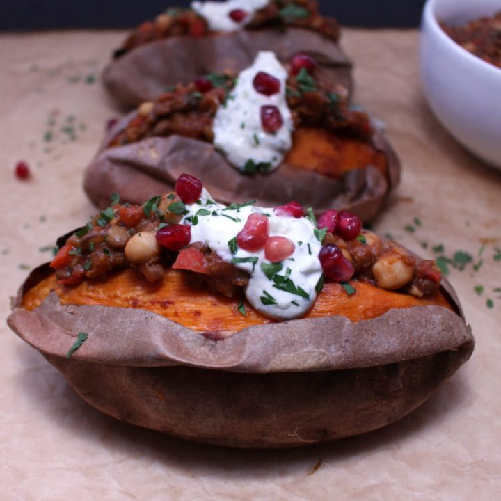 Mediterranean Chili Stuffed Sweet Potatoes with Creamy Tzatziki