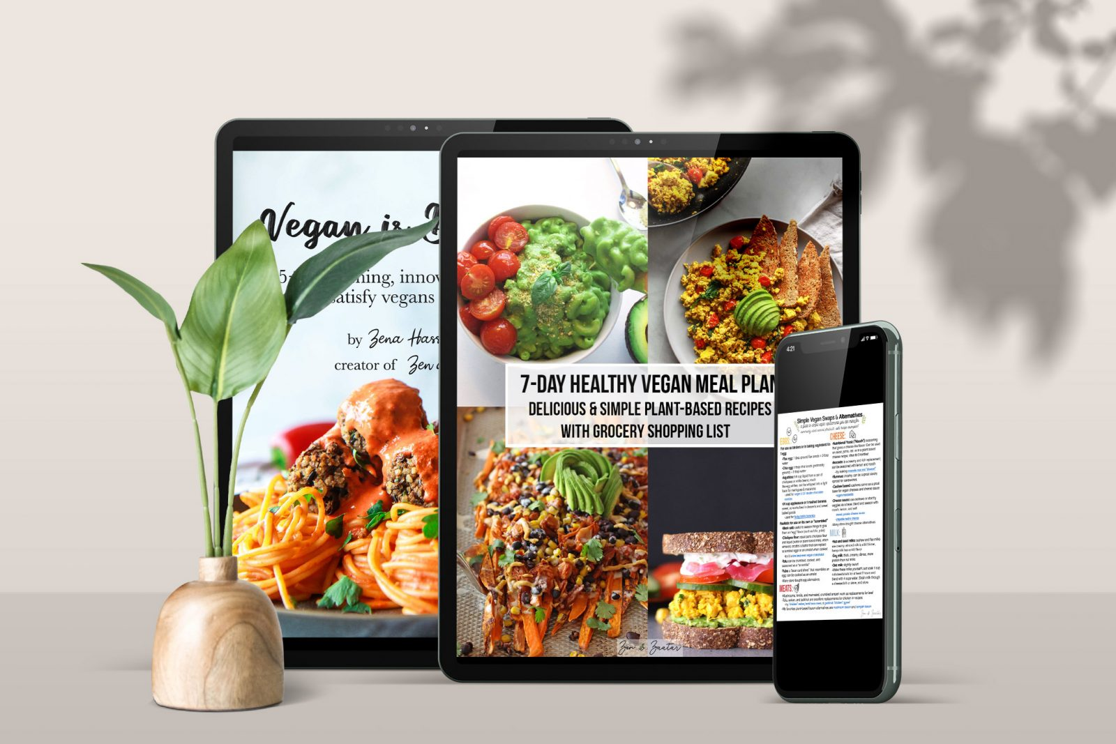 Get Vegan is Delicious, the 7-day Healthy Vegan Meal Plan, and the Vegan Substitutions Guide for only 14.99.