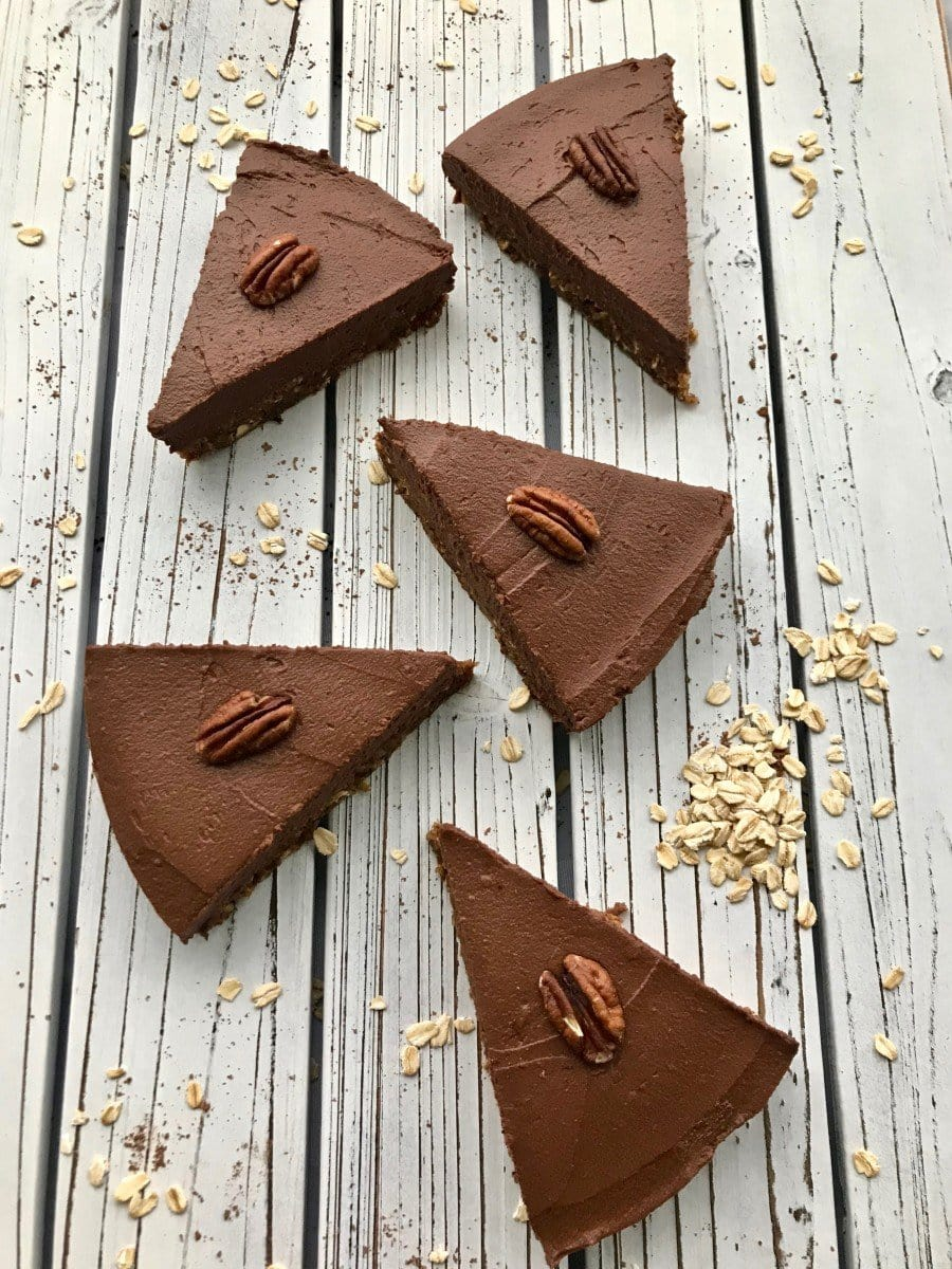 This chocolate sweet potato pie is a delicious plant based thanksgiving dessert.