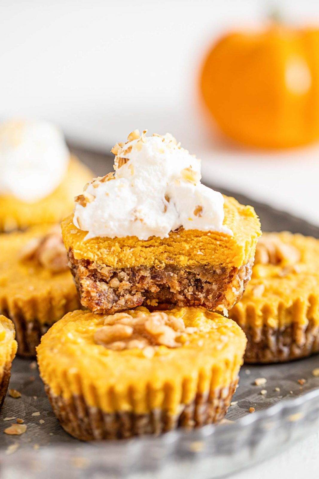 These no bake pumpkin tarts are a delicious plant based holiday dessert.