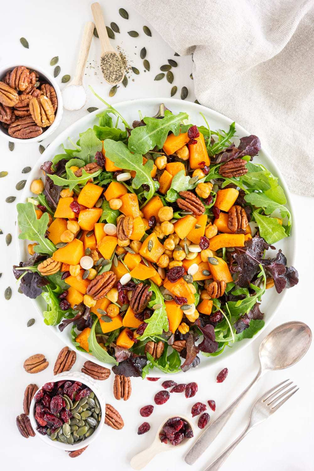 This butternut squash salad makes a delicious plant based thanksgiving side dish.