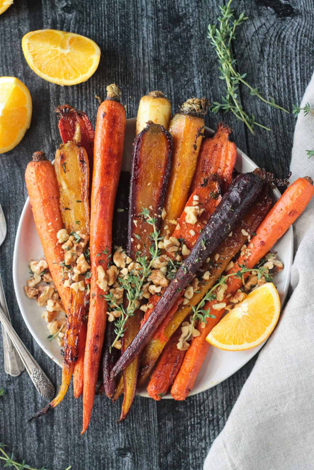 These oven roasted rainbow carrots make a beautiful Thanksgiving side dish.