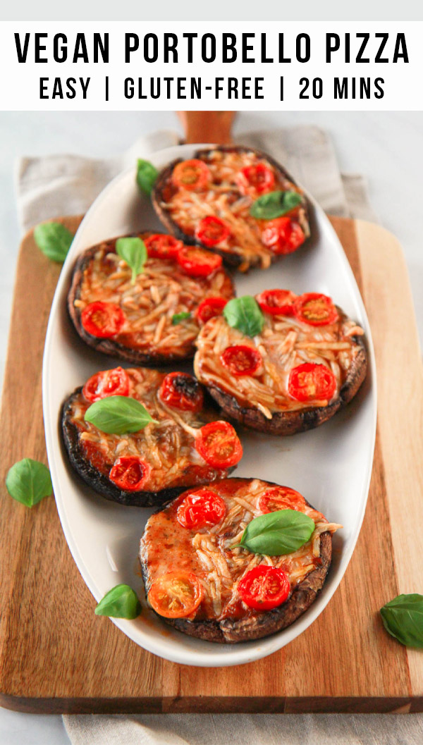 These vegan portobello pizzas are a healthy, dairy free way to enjoy the flavors of pizza. Also gluten-free, you can customize each portobello pizza in this recipe to your liking with vegan cheese and veggie toppings.